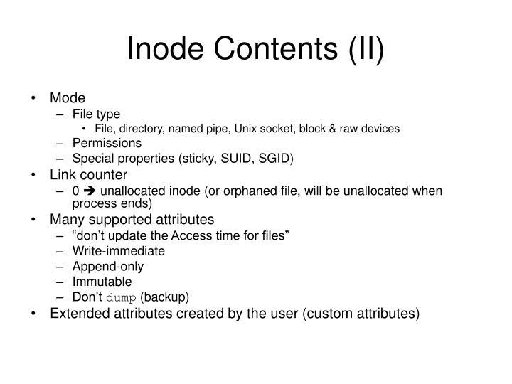 Inode Contents (II)