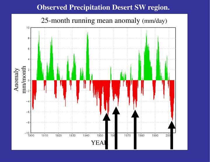 Observed Precipitation Desert SW region.