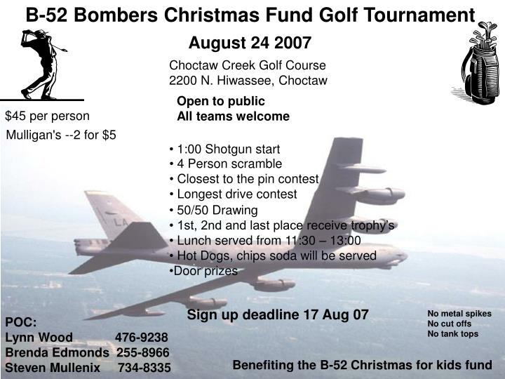B-52 Bombers Christmas Fund Golf Tournament