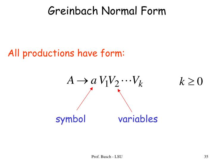Greinbach Normal Form