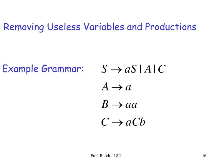 Removing Useless Variables and Productions