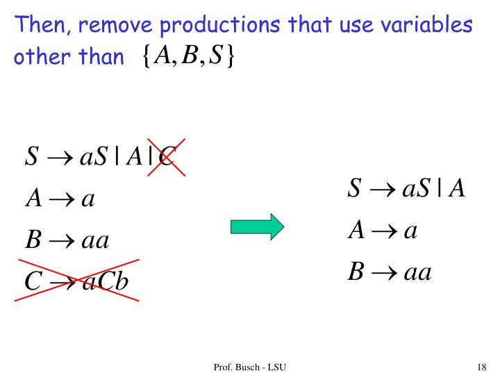 Then, remove productions that use variables
