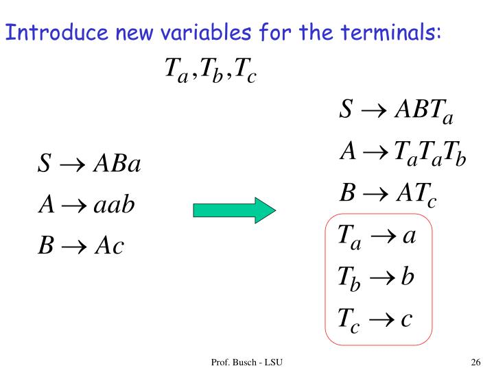 Introduce new variables for the terminals: