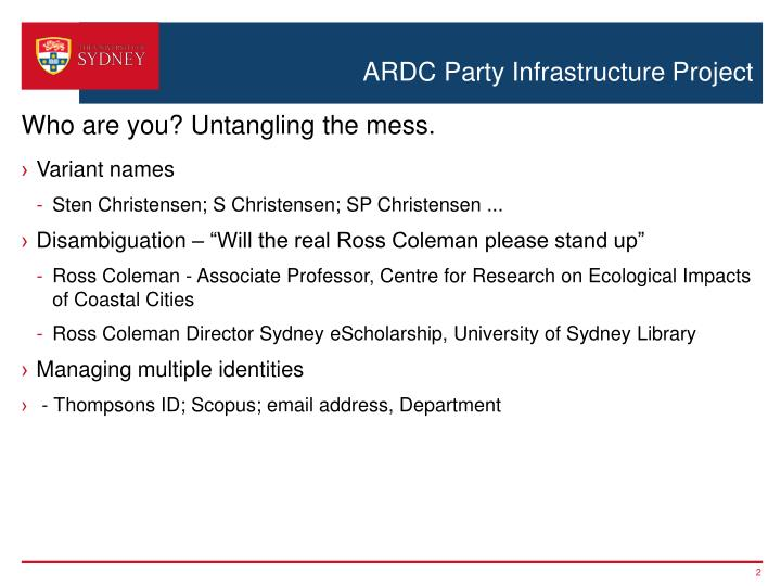 ARDC Party Infrastructure Project