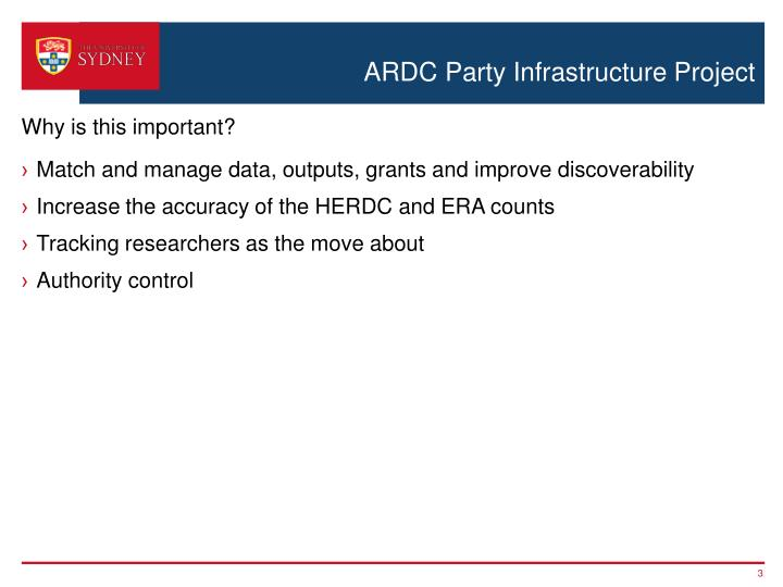 Ardc party infrastructure project2