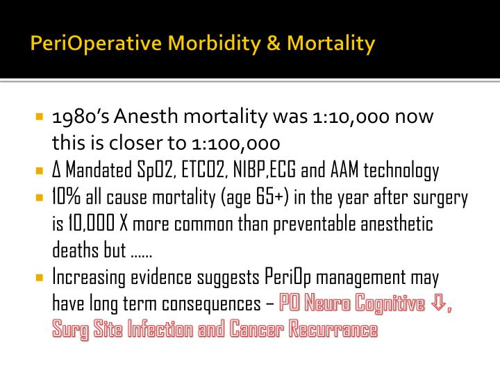 PeriOperative Morbidity & Mortality