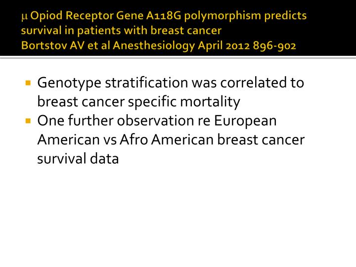  Opiod Receptor Gene A118G polymorphism predicts survival in patients with breast cancer