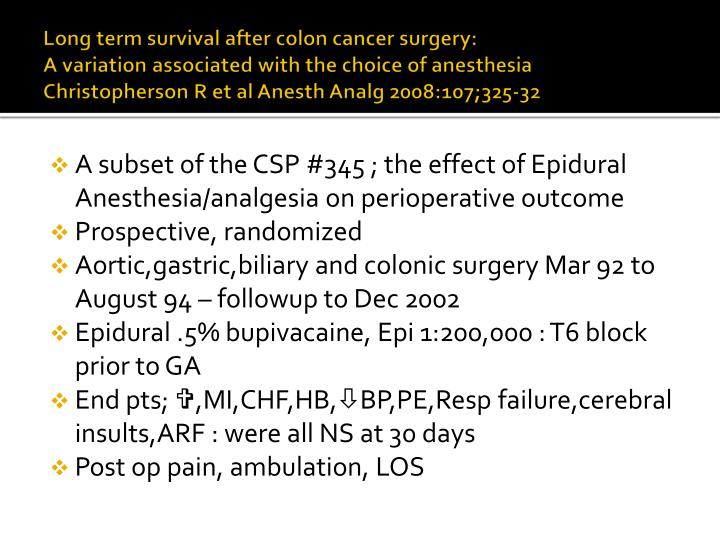 Long term survival after colon cancer surgery: