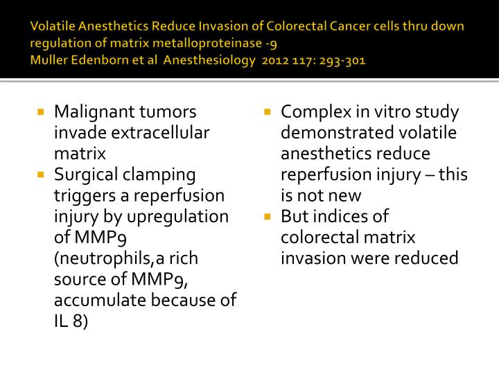 Volatile Anesthetics Reduce Invasion of Colorectal Cancer cells thru down regulation of matrix metalloproteinase -9