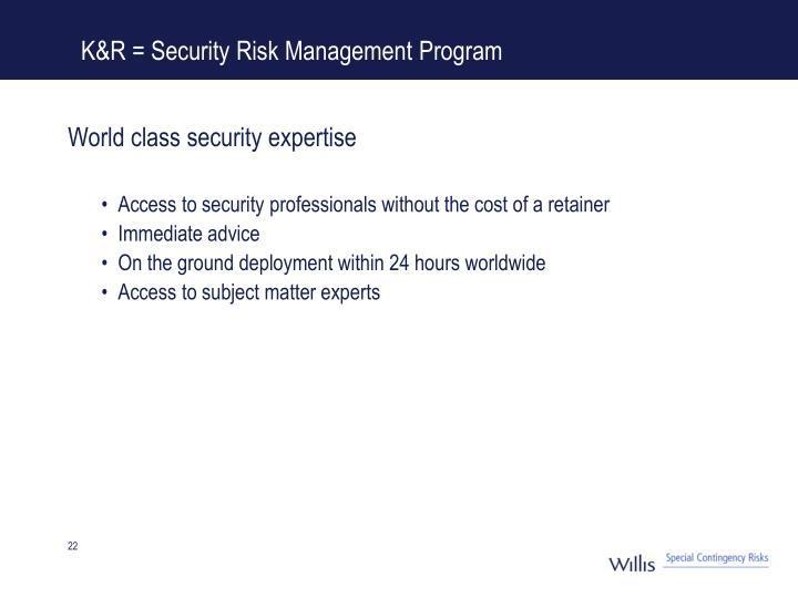 K&R = Security Risk Management Program