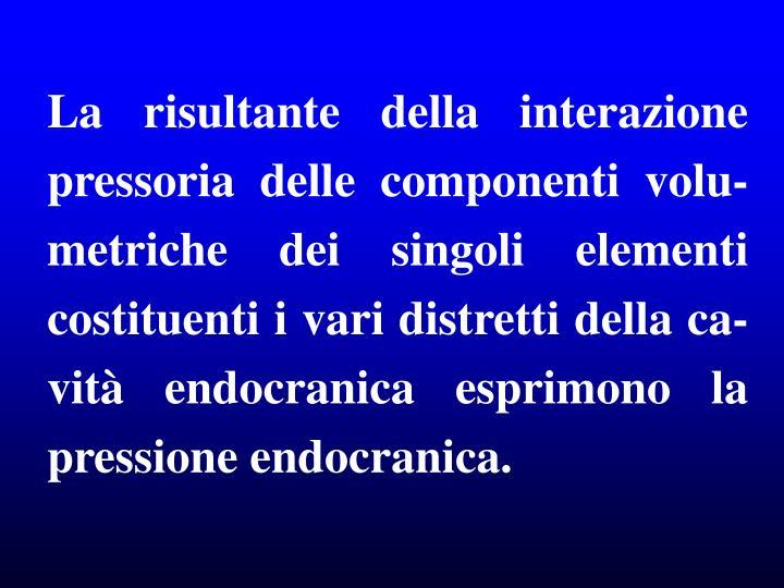 La risultante della interazione pressoria delle componenti volu-metriche dei singoli elementi costituenti i vari distretti della ca-vità endocranica esprimono la pressione endocranica.