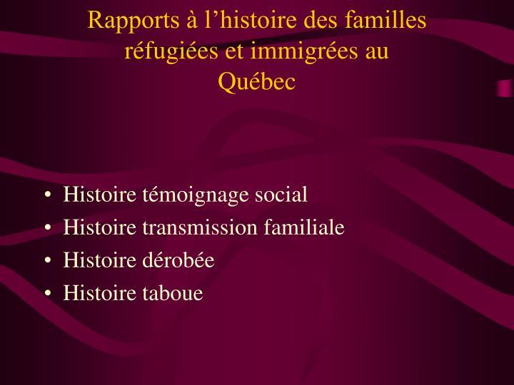 Rapports à l'histoire des familles réfugiées et immigrées au