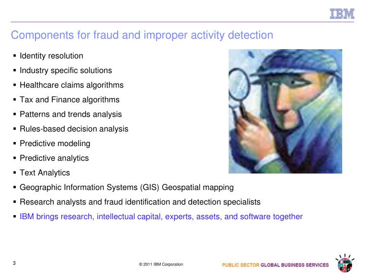 Components for fraud and improper activity detection