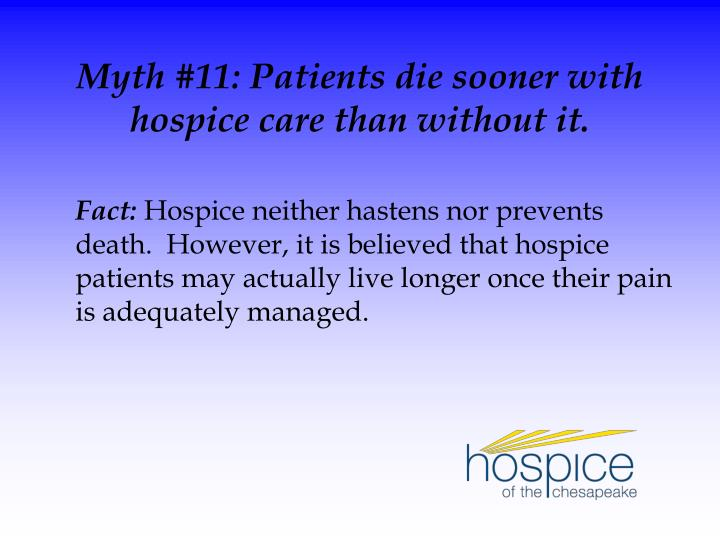 Myth #11: Patients die sooner with hospice care than without it.