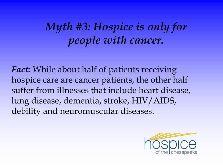 Myth #3: Hospice is only for
