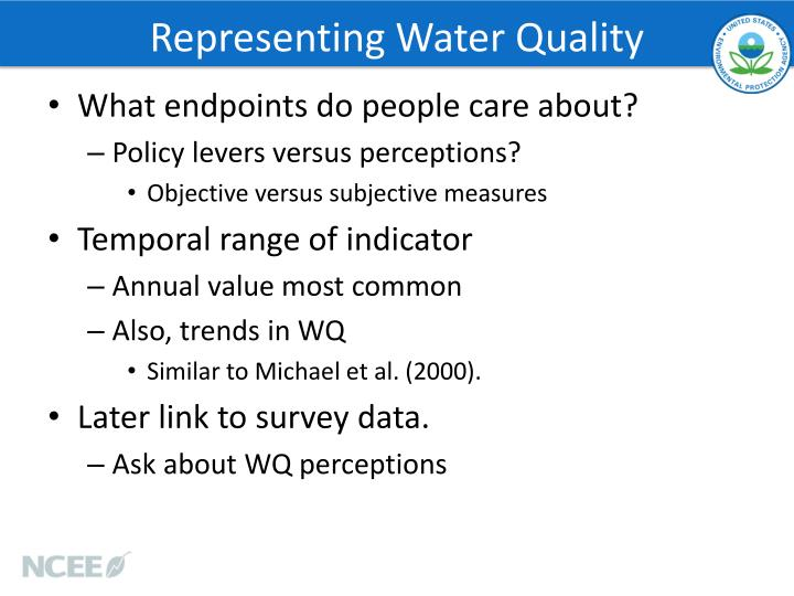 Representing Water Quality