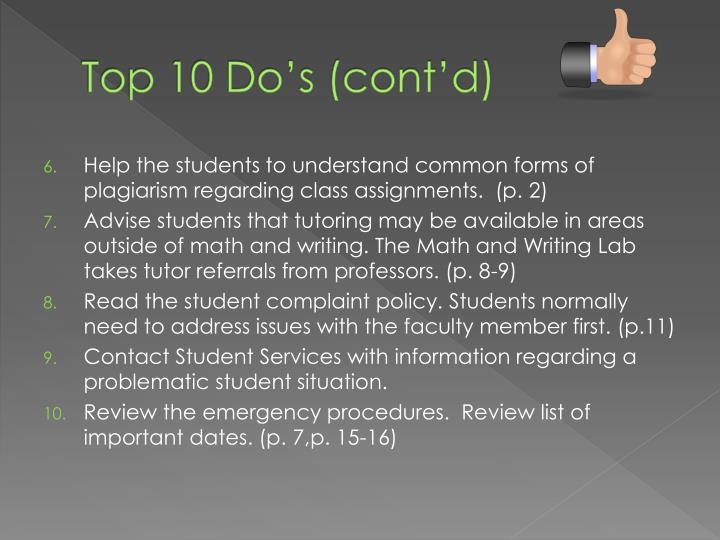 Top 10 Do's (cont'd)