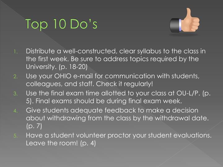 Top 10 Do's