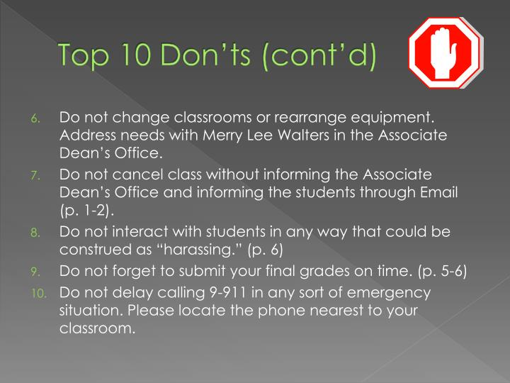 Top 10 Don'ts (cont'd)