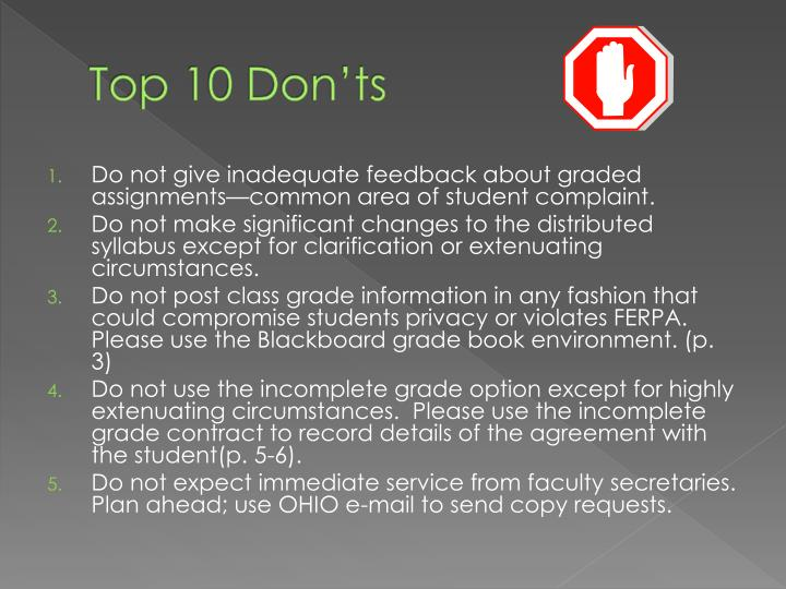 Top 10 Don'ts
