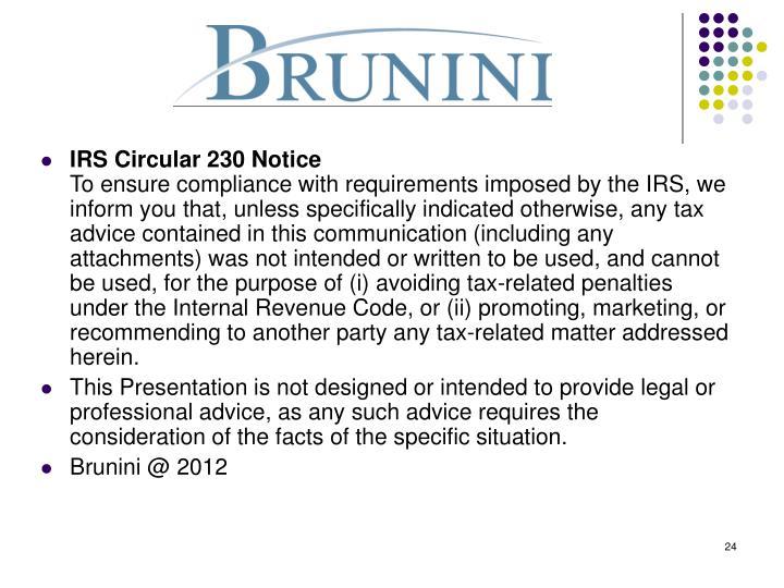 IRS Circular 230 Notice