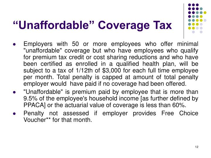 """Unaffordable"" Coverage Tax"