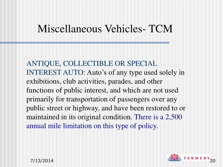 Miscellaneous Vehicles- TCM