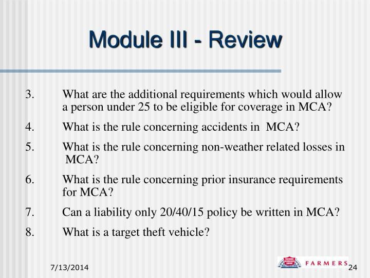 Module III - Review