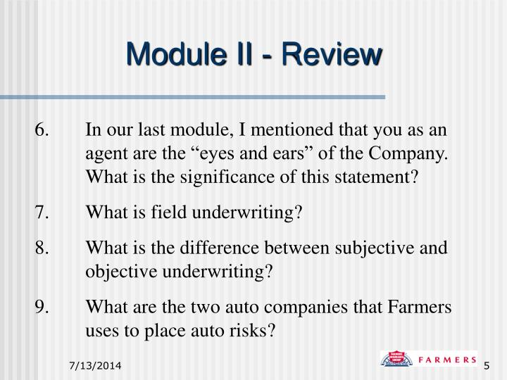Module II - Review