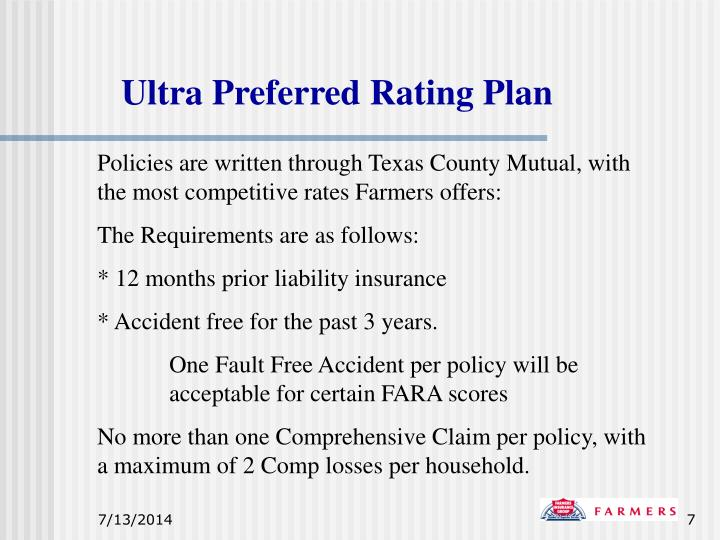Ultra Preferred Rating Plan