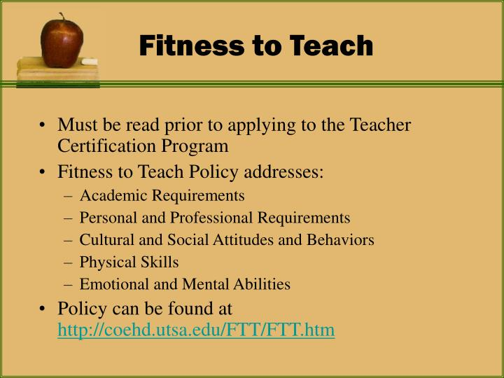 Fitness to teach
