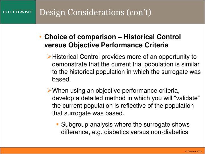 Design Considerations (con't)