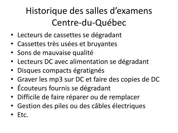 Historique des salles d'examens