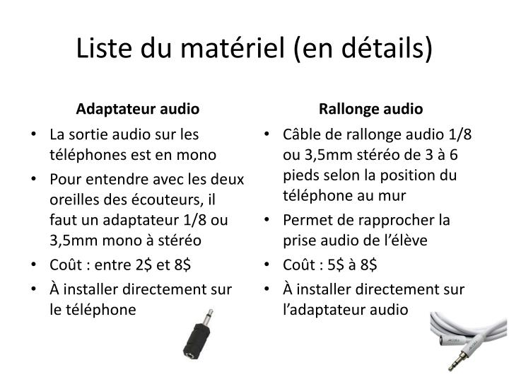 Liste du matériel (en détails)