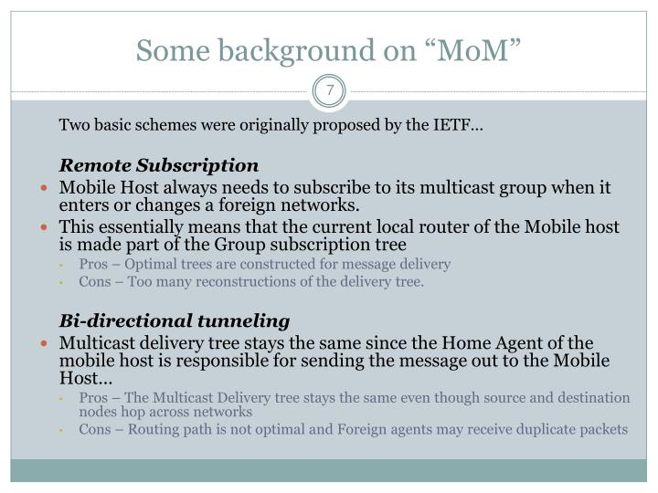 """Some background on """"MoM"""""""