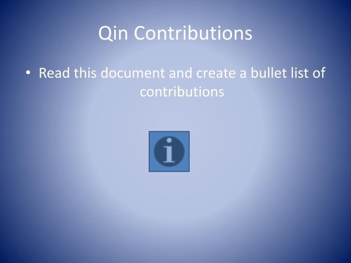 Qin Contributions