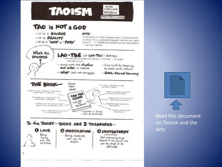 Read this document on Taoism and the Arts