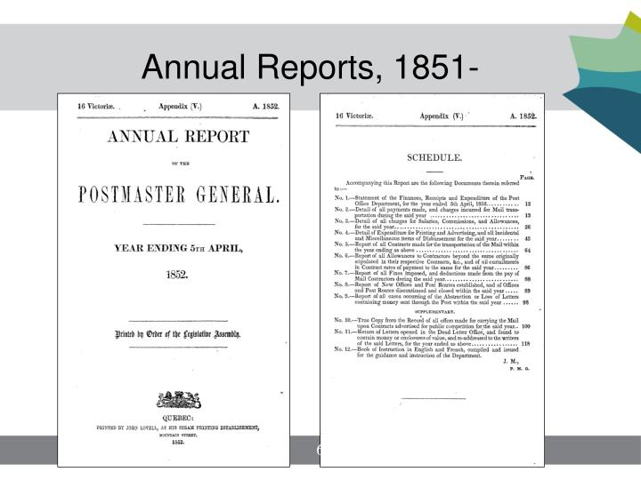 Annual Reports, 1851-