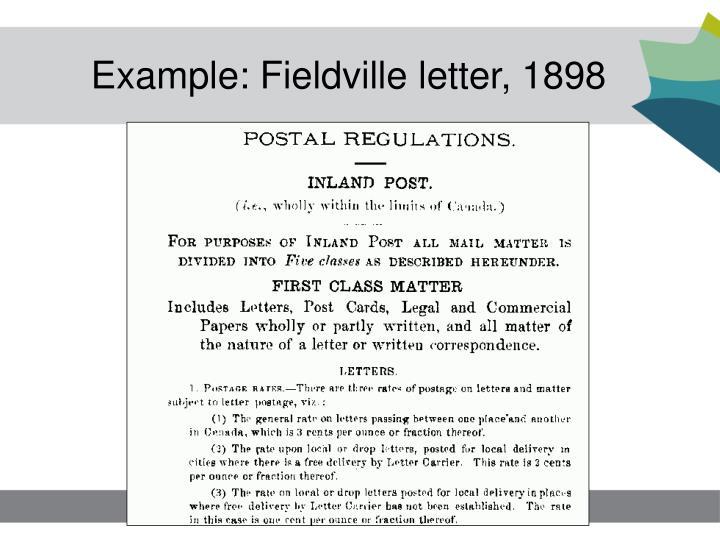 Example: Fieldville letter, 1898