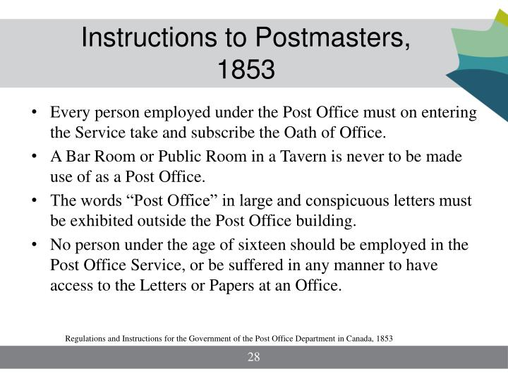 Instructions to Postmasters, 1853