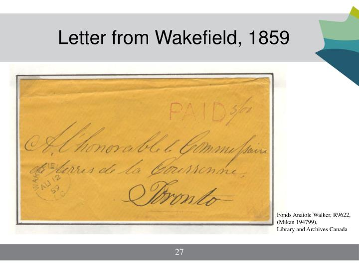 Letter from Wakefield, 1859