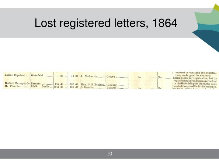 Lost registered letters, 1864