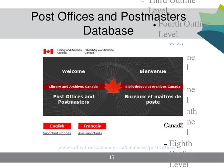 Post Offices and Postmasters Database