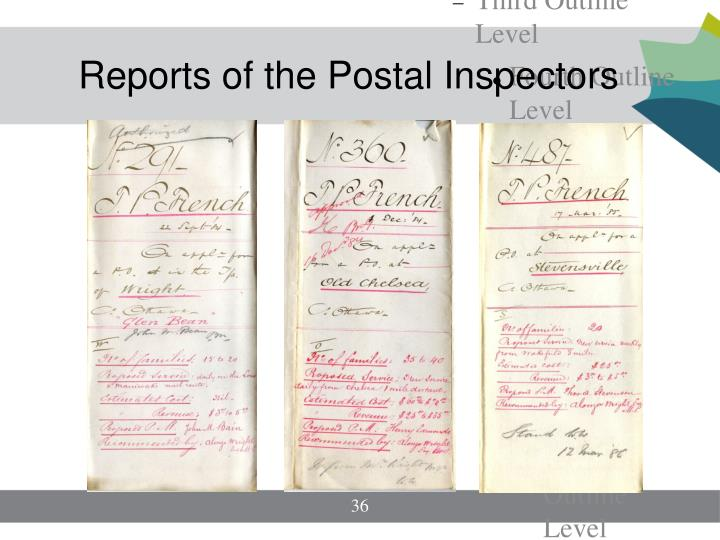 Reports of the Postal Inspectors