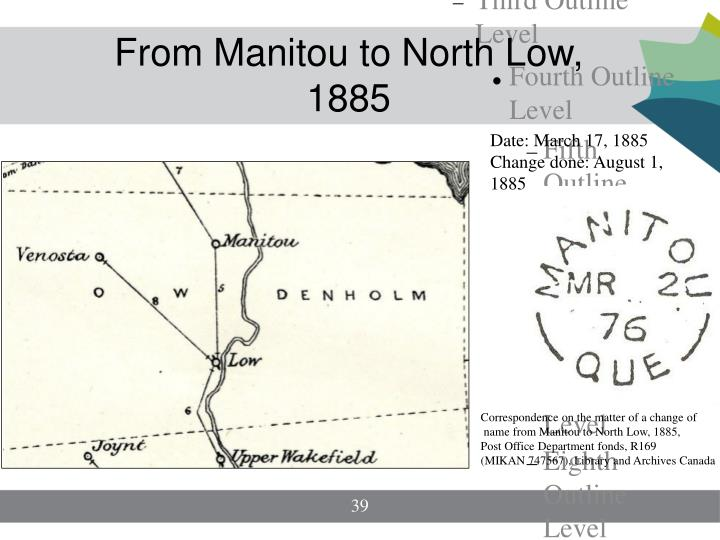 From Manitou to North Low, 1885