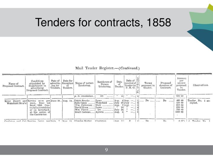 Tenders for contracts, 1858
