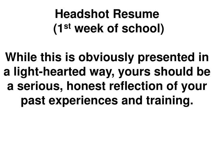 Headshot Resume
