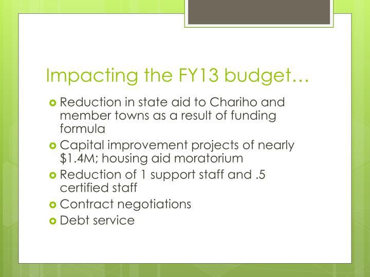 Impacting the FY13 budget…