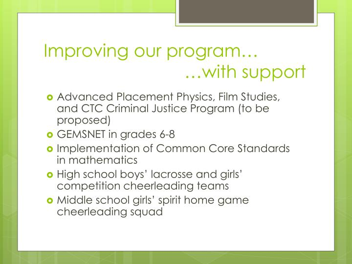 Improving our program…