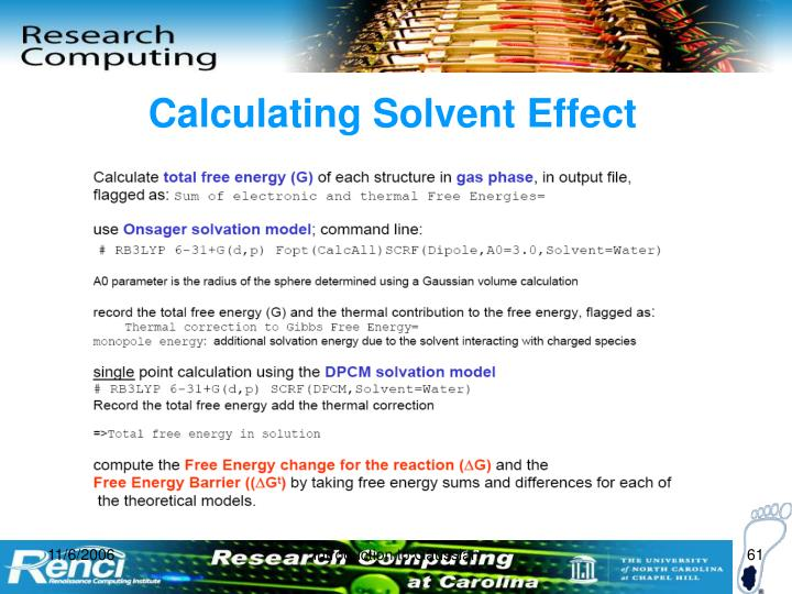 Calculating Solvent Effect